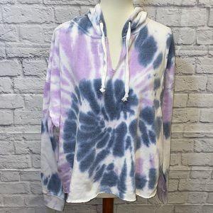 Blue Purple Tie Dye Cropped Sweatshirt Hoodie L
